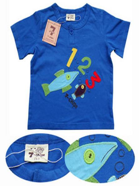蓝色双鱼童装产品图片